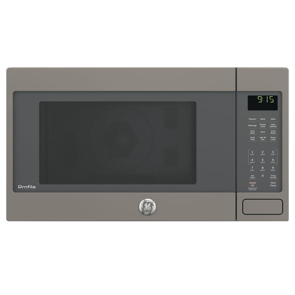 Ge Profile 1 5 Cu Ft Countertop Convection Microwave Oven In Slate Fingerprint Resistant Peb9159ejes