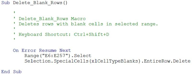 Example Of Vba Code For Macro To Delete Rows With Blank Cells Business Analyst Resume Resume Perfect Resume