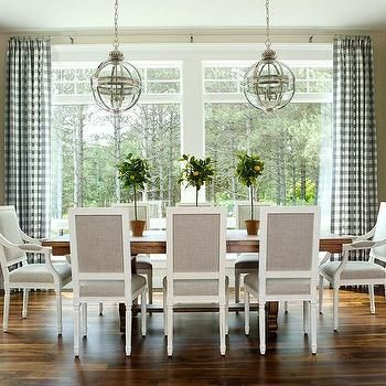 Chairs Chic Dining Room Features A Trestle Table Lined With Heather Gray Square Back French Illuminated By Restoration Hardware