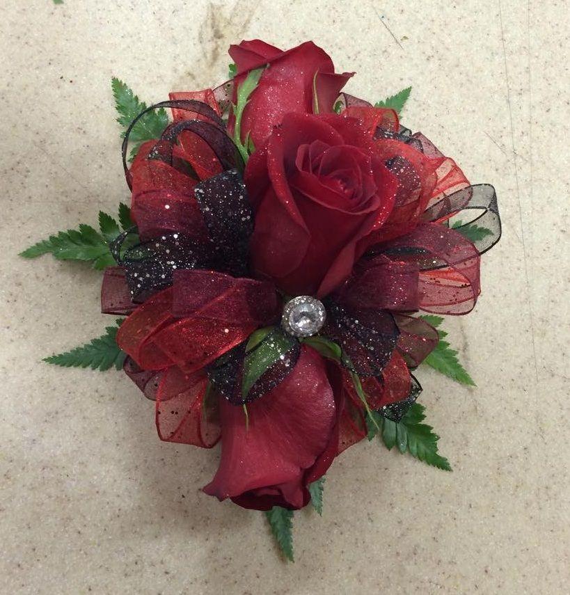 Purple Red Wrist Corsage Burgundy Chiffon Rose Corsage