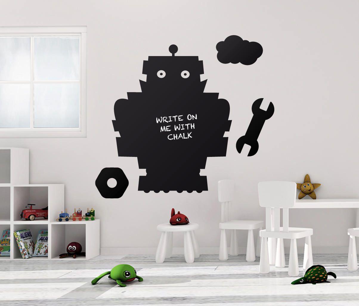 100x80cm chalkboard robot blackboard vinyl decor mural decals robo 100x80cm chalkboard robot blackboard vinyl decor mural decals robo wall sticker kids bedroomplayroom amipublicfo Images