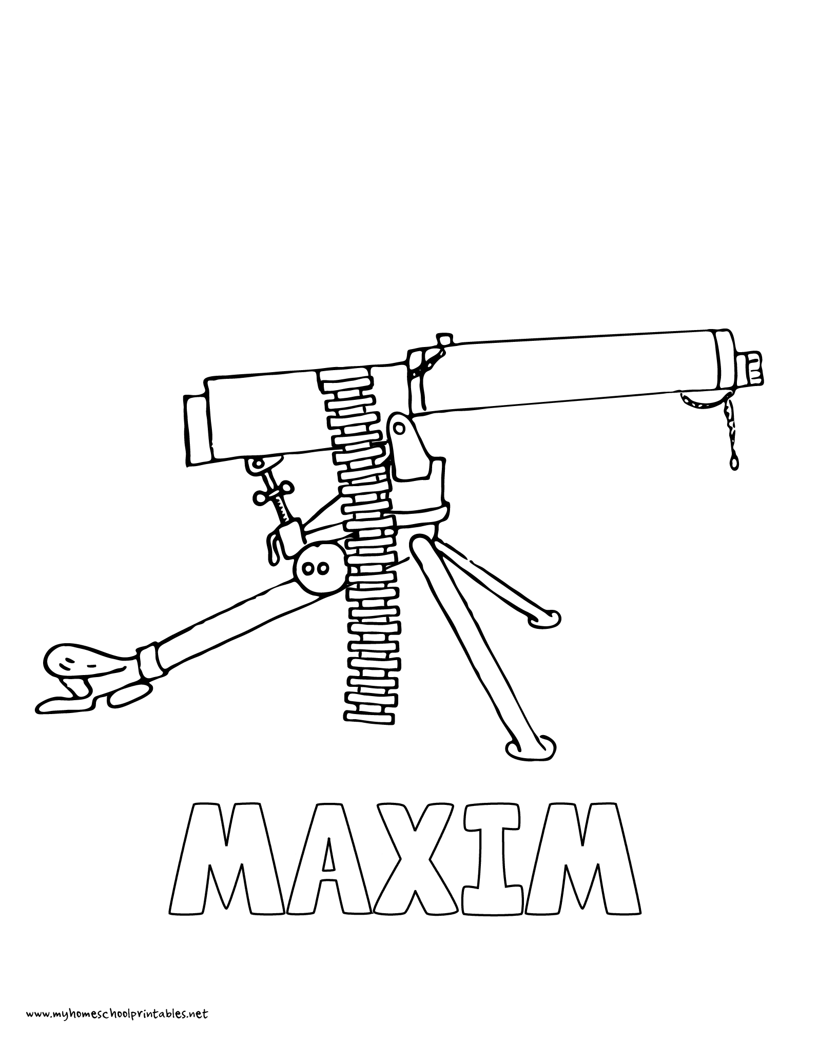 World History Coloring Pages Printables Maxim Machine Gun History