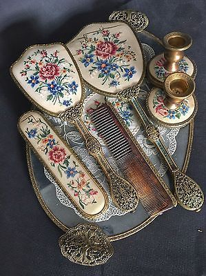Vintage Petit Point Embroidered Dressing Table Set 7 Pieces