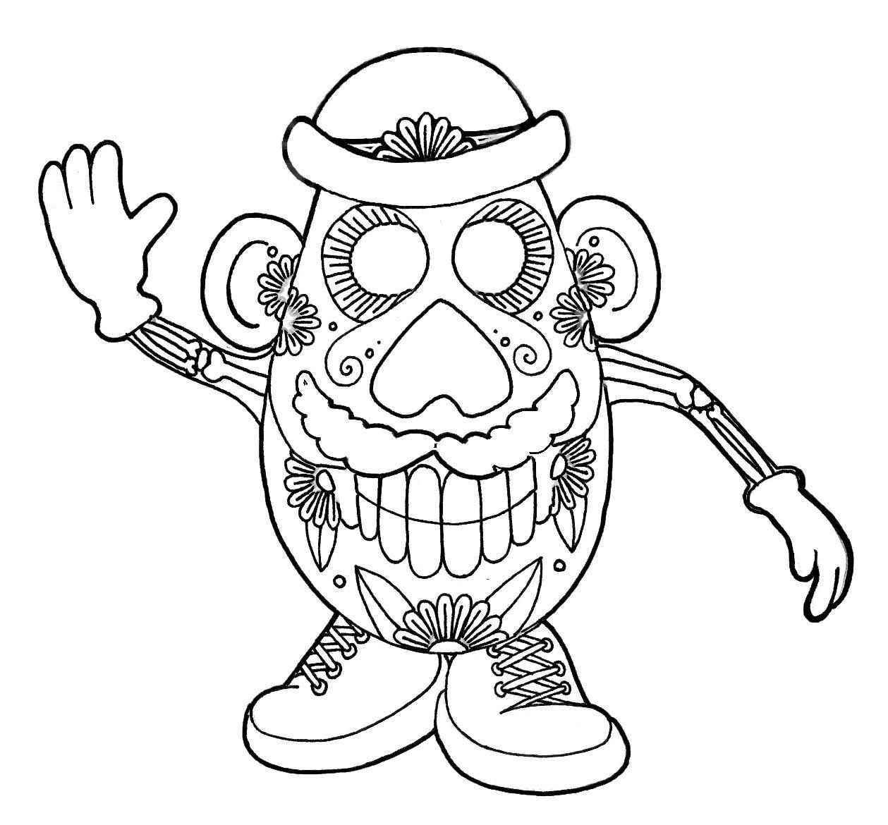 - Wenchkin's Coloring Pages - Dia De Los Potatohead Skull Coloring