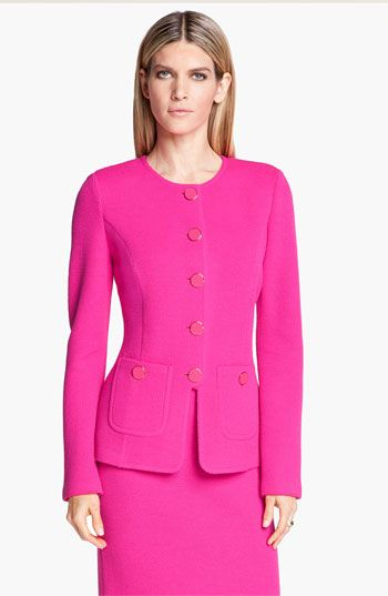 St John Collection Fitted Mod Pique Jacket Available At Nordstrom
