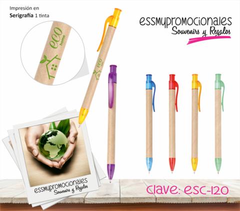 Bolígrafo ecológico con accesorios de plástico en colores.  Tamaño: 14x0.9cm Impresión serigrafía.  #Bolígrafos #EssmyPromocionales #Promocionales #Souvenirs #Ecológicos