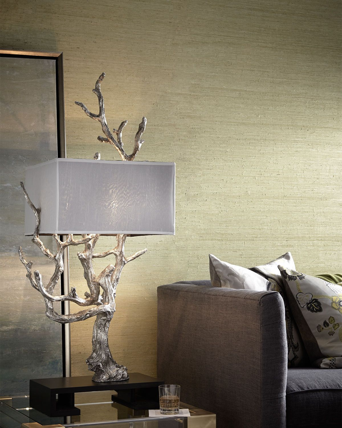 Unique New Silver Tree Branch Table Lamp 51 Tall Faux Bois Modern