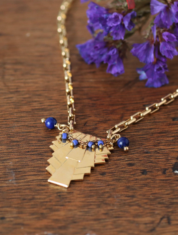 Sautoir art déco dorées à lor fin 24K, collier lapis lazuli, chic bohème, collier de fêtes,collier doré, bijou art déco, bijou bleu