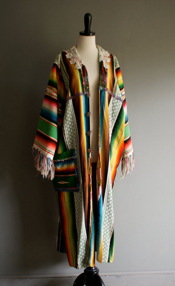 0d6c38c3ac Vintage MEXICAN Upcycled FRINGE Boho Chic LACE Sequin Robe Duster Kimono  Jacket osfa by heightofvintage