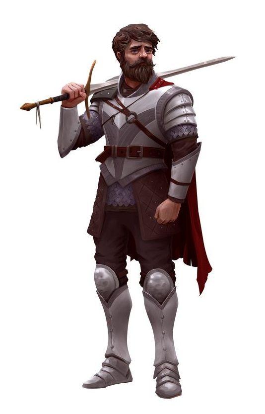 Human Scruffy Beard Fighter - Pathfinder PFRPG DND D&D d20 fantasy