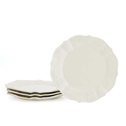 VERANDA HOME DINNER PLATES Subtle embossing and gentle scallops lend texture to French white stoneware dinner  sc 1 st  Pinterest & VERANDA HOME DINNER PLATES Subtle embossing and gentle scallops lend ...