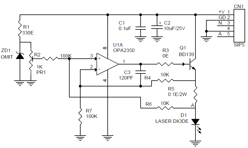 Constant Current Laser Diode Driver Circuit Using Opa2350 Opamp Electronics Lab Diode Electronic Schematics Structured Wiring