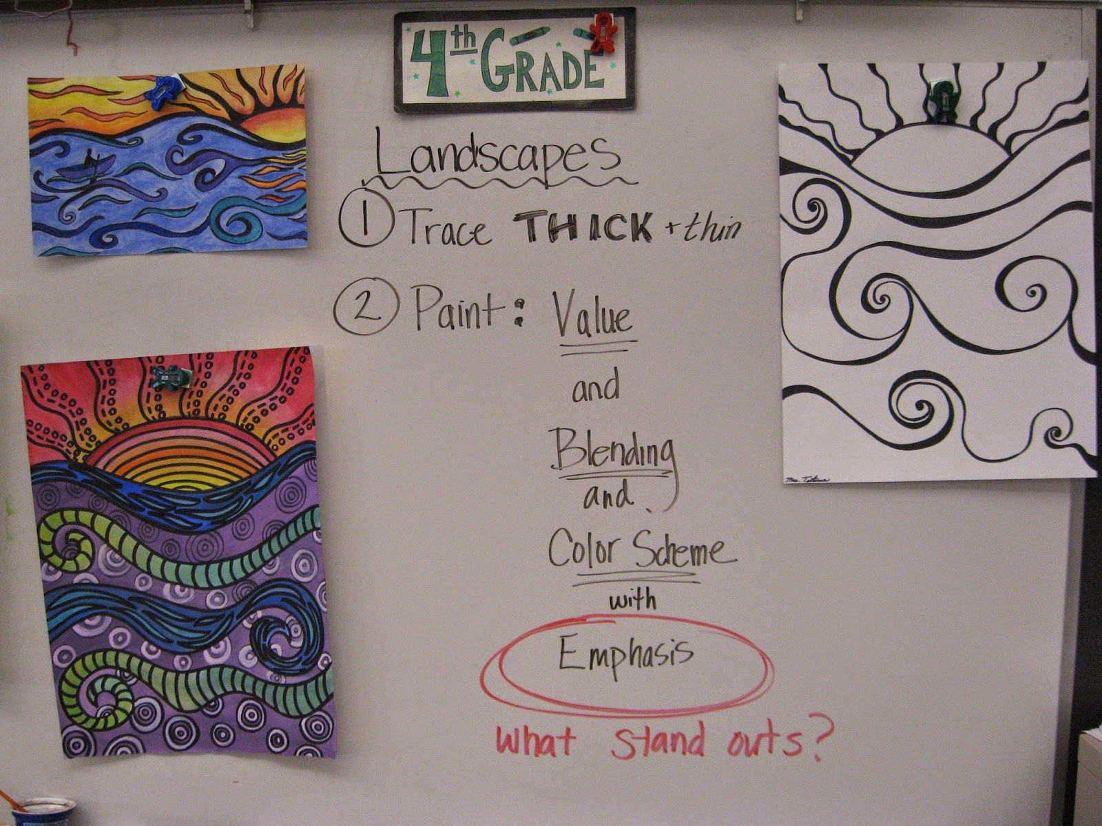 Jamestown Elementary Art Blog: 4th Grade Landscapes   Elementary art  projects [ 1200 x 1600 Pixel ]