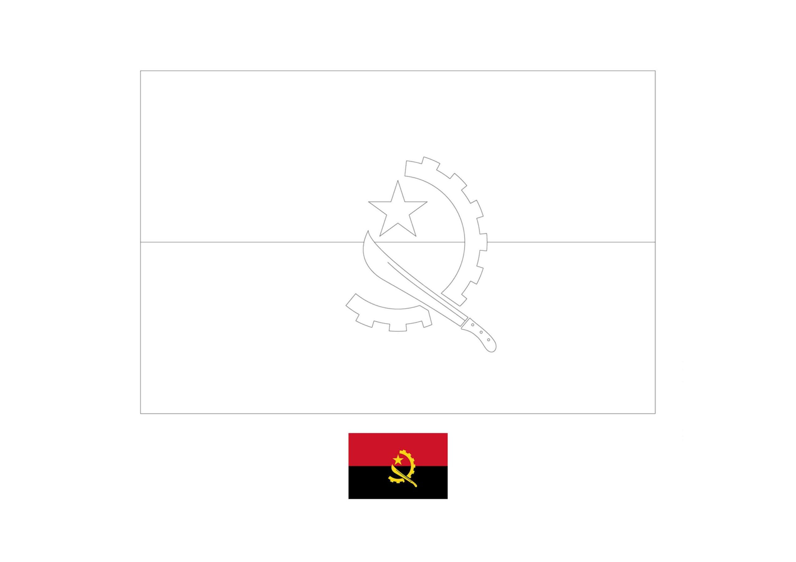 Angola Flag Coloring Page Flag Coloring Pages Coloring Pages