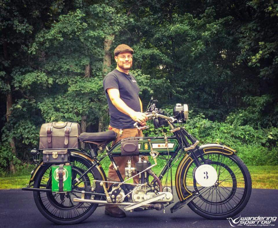"Good Luck Joe Sparrow > Buck is more than reddy to run this stunnig 1916 BSA trom ""Coast to Coast""  #Motorcycle CannonballRun 2016"