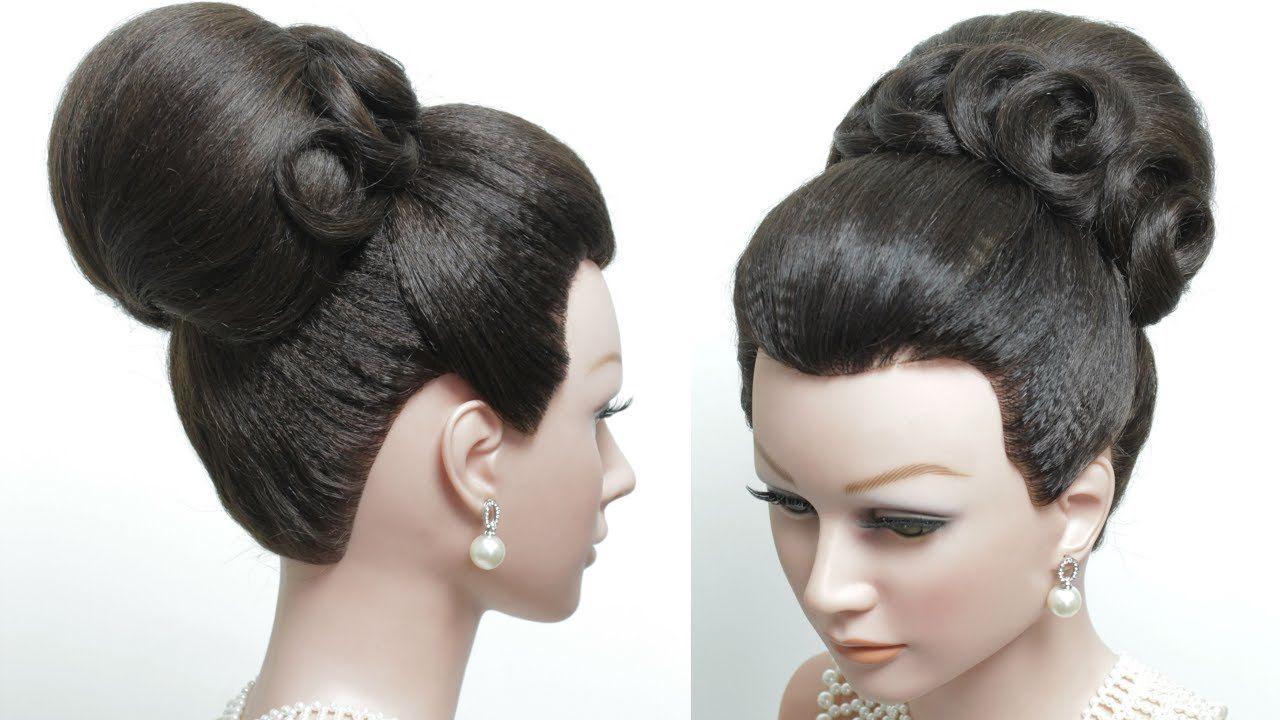 bridal hairstyle for long hair tutorial. classic high bun