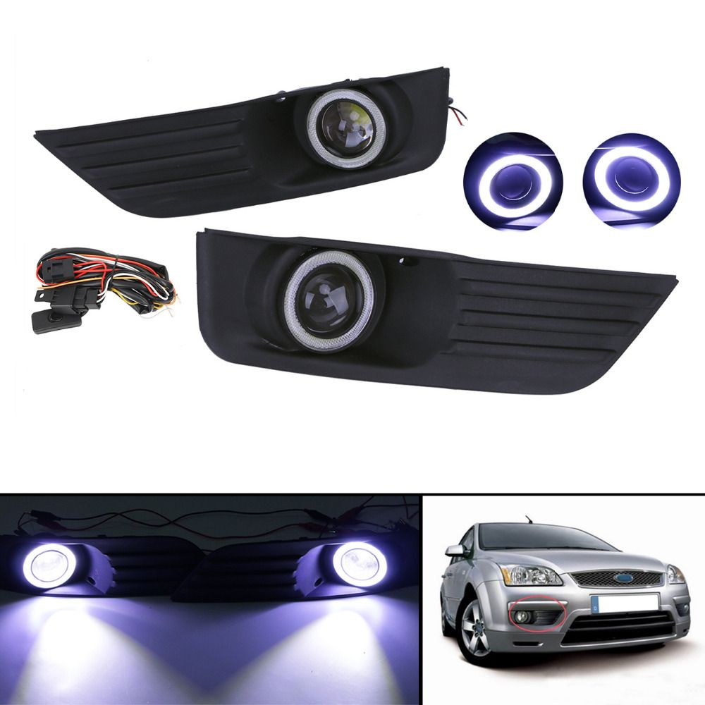 Lower Fog Lights Lamps Grill Cover Kit Angel Eyes Led Convex Lens Drl For Ford Focus 2005 2006 2007 Car Accessory P366