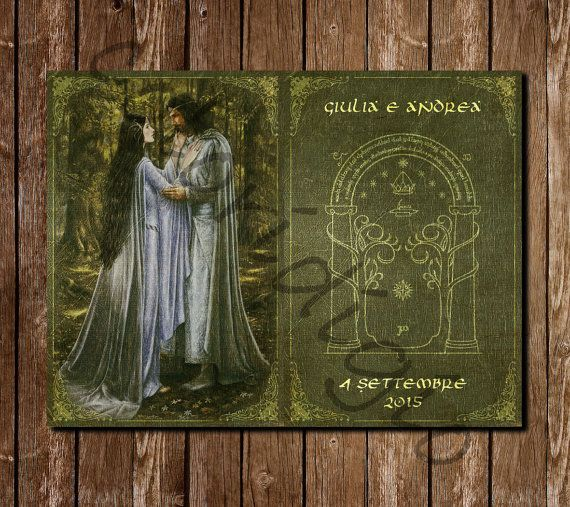 Matrimonio Tema Signore Degli Anelli : Lord of the ring wedding invitation middle earth etc