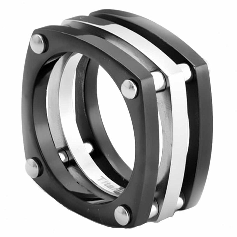 11mm High Polish Titanium Ring Black And HighPolish