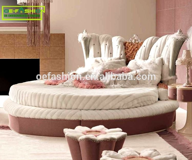 Luxury Hot Sell King Size Round Bed Luxury Round Velvet Bed