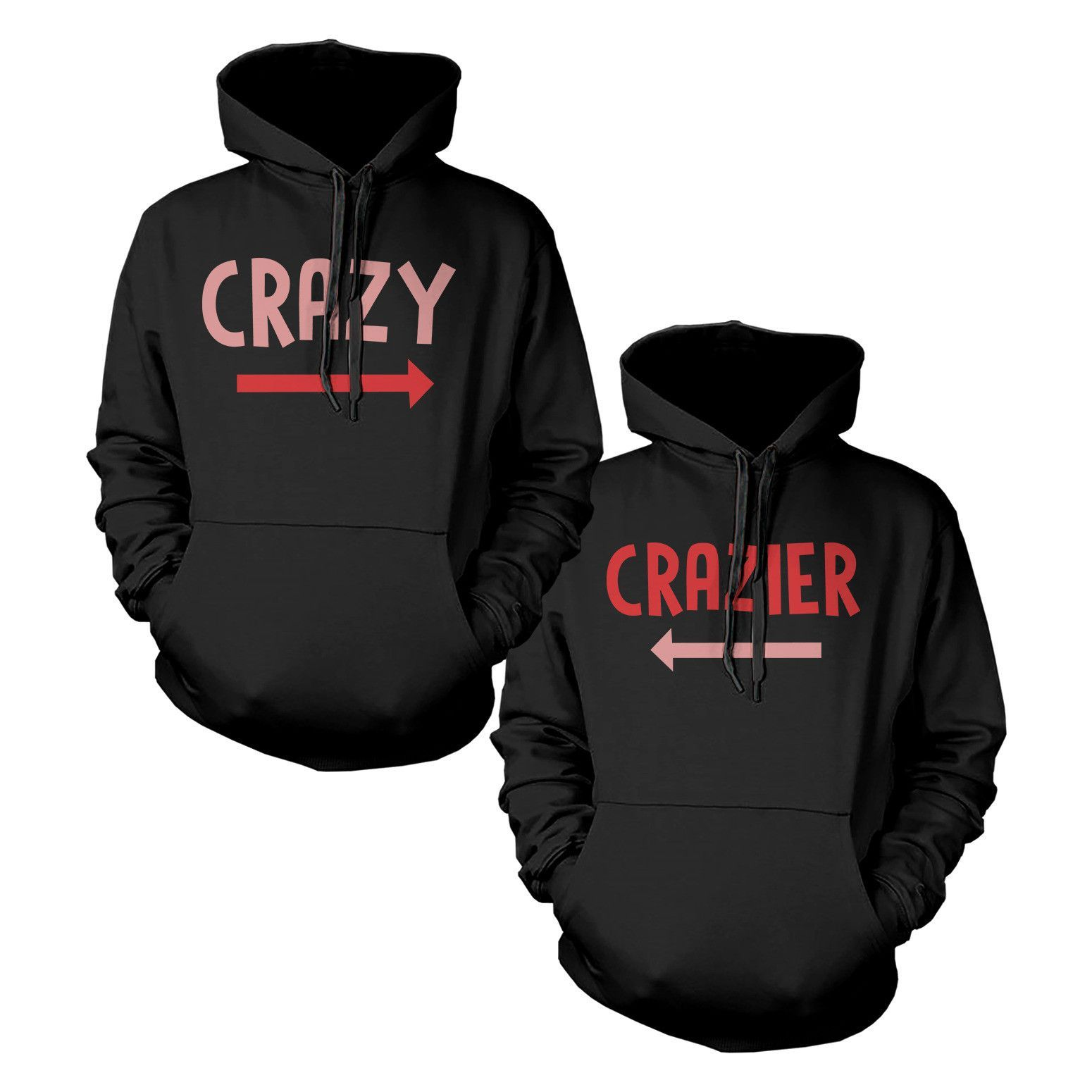 9f28f4f0b5 Funny Crazy and Crazier BFF Matching Best Friend Hoodies Front Back Design