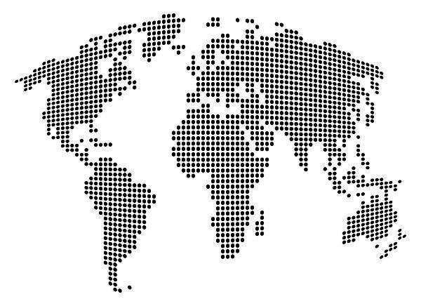 Dot map of the world black and white digital art michael dot map of the world black and white digital art gumiabroncs Images