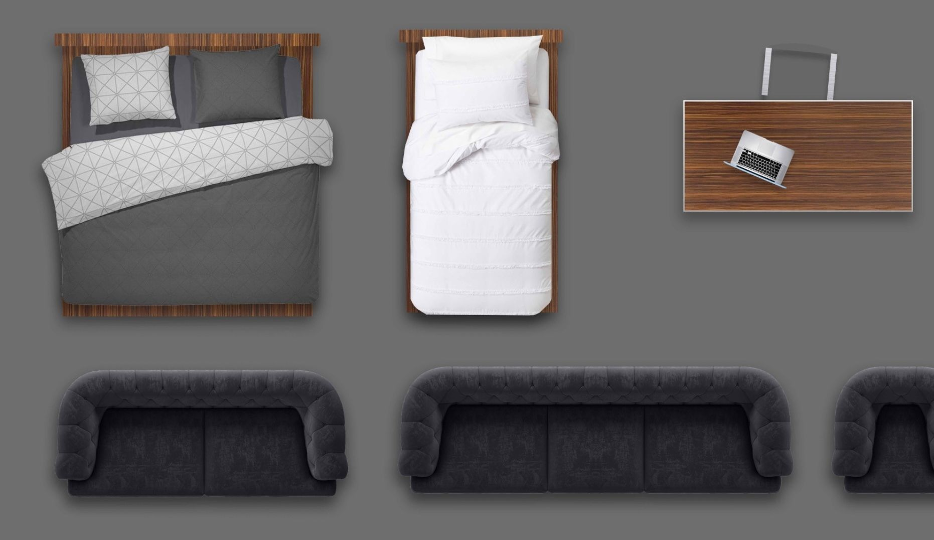 2d furniture floorplan top view PSD 3D model render top