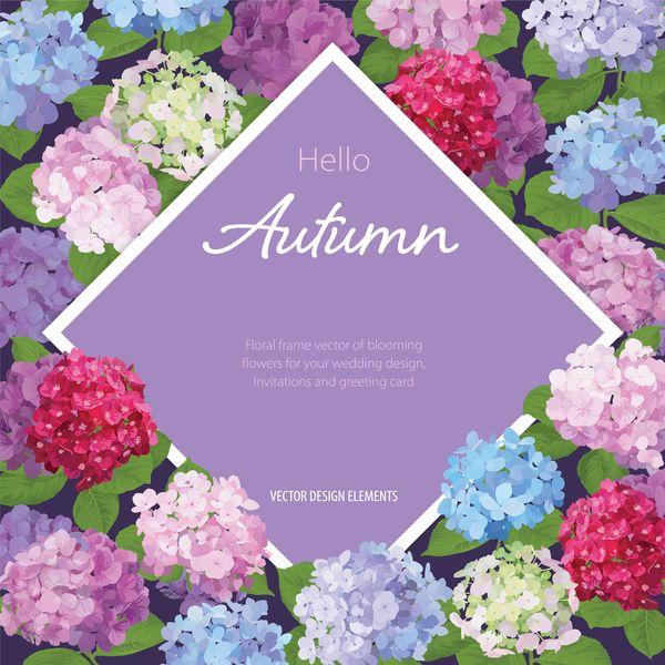 Höstens blomma kort mall vektor 02