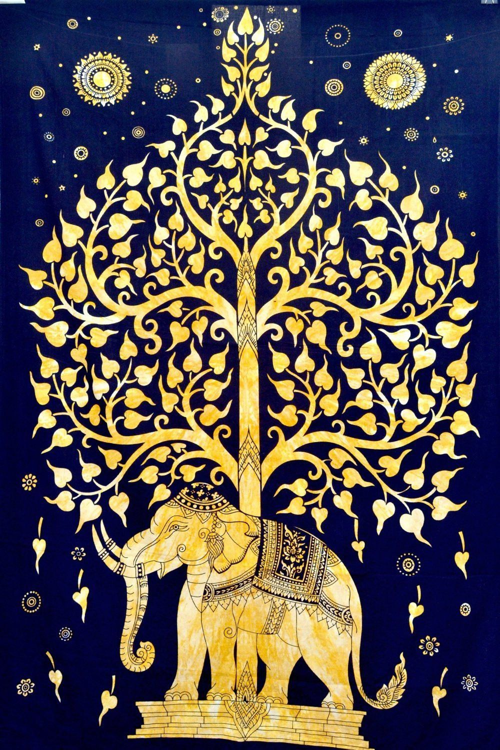 Magical Thinking Gold Tree Of Life Elephant Tapestry | Wall Hangings ...