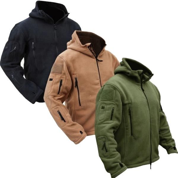 Men Tactical Military Winter Fleece Hooded Outdoor Sports Jacket ...