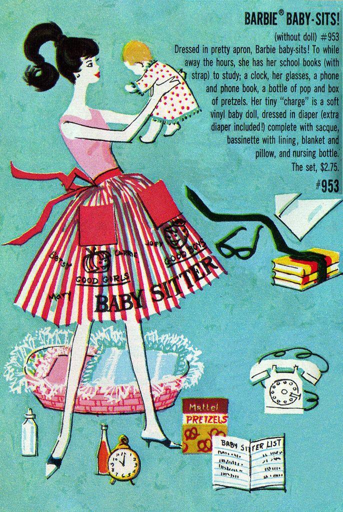 Vintage Barbie Baby Sitter Pamphlet Illustration   Uit mijn tijd ...