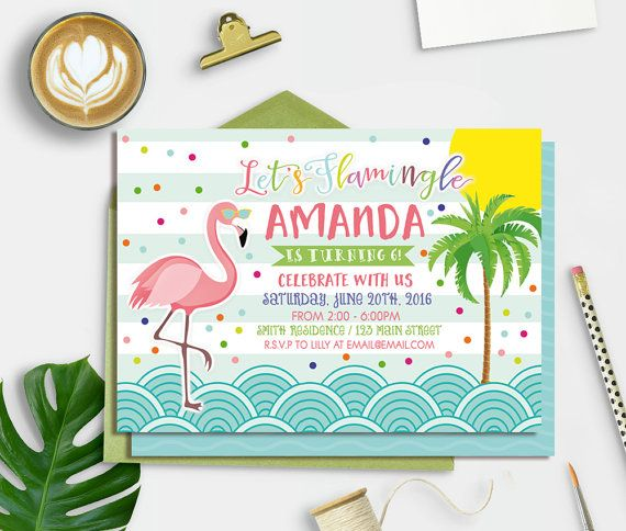 Flamingo Invitation Printable, Flamingo Party Invitation, Summer - birthday invitation pool party