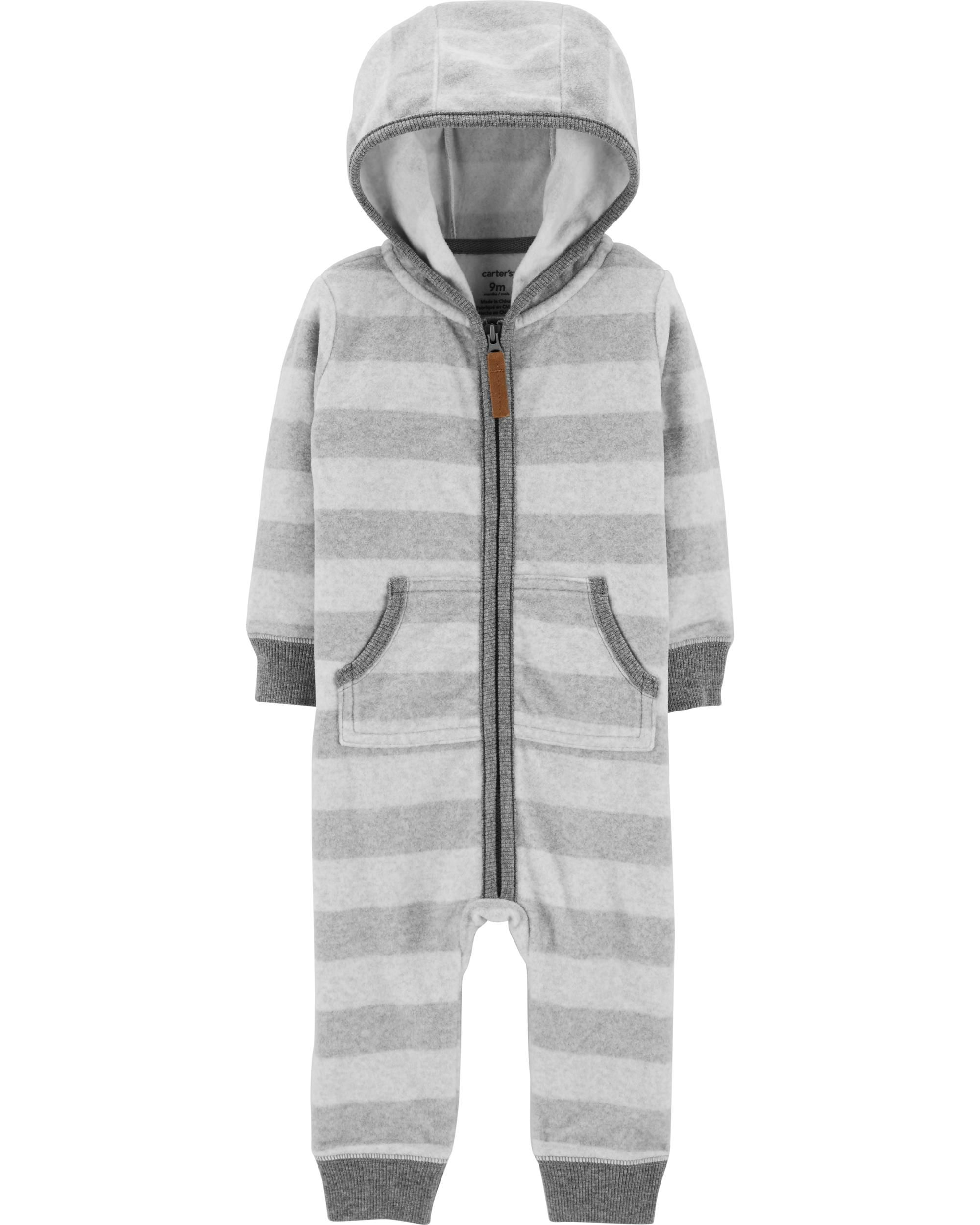 f38ab2056 Toddler Clothes Near Me. Baby Boy Striped Hooded Fleece Jumpsuit | Carters .com