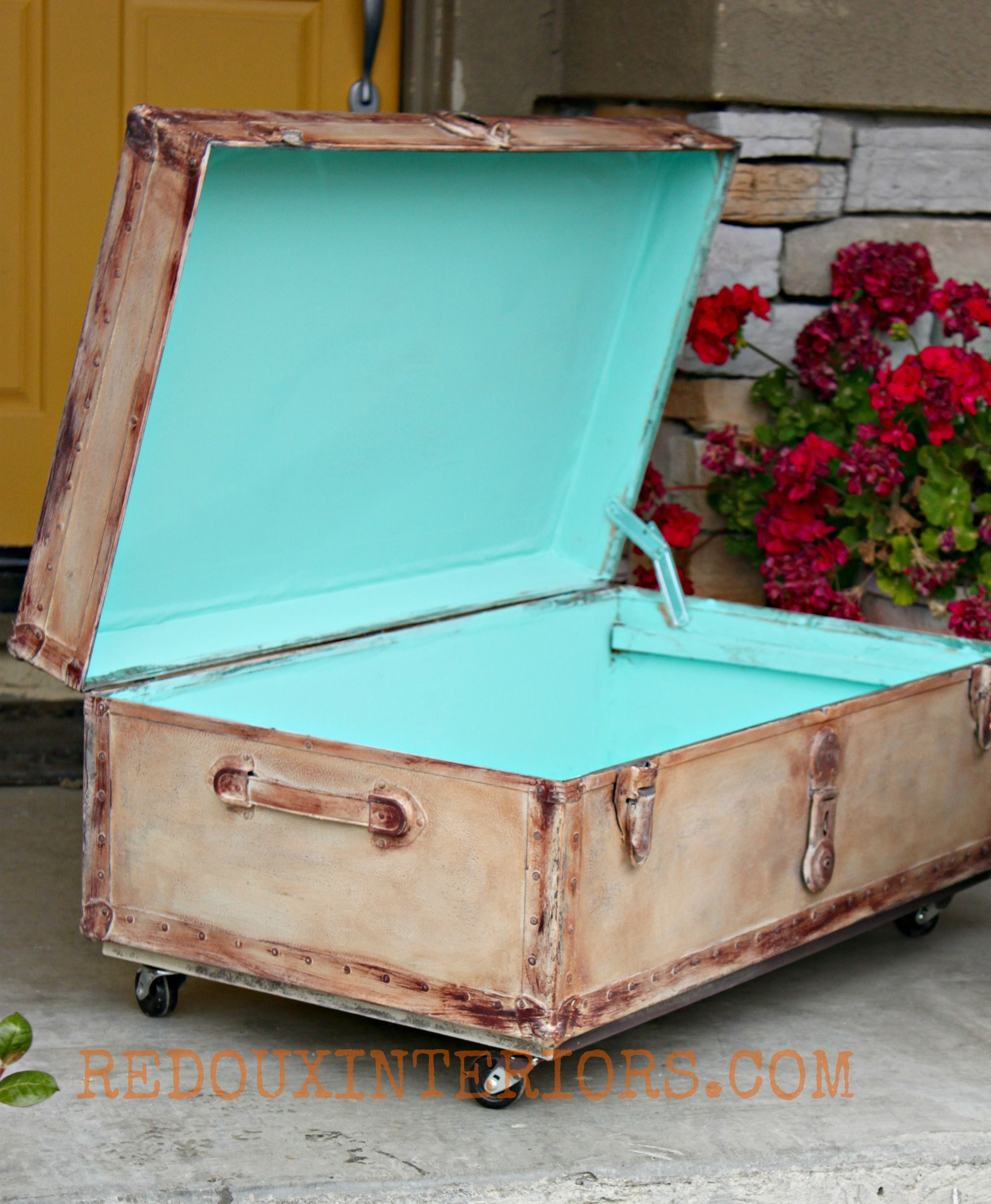 Info's : Trunk Makeover to Aged perfection. CeCe Caldwells Myrtle Beach Sand, Santa Fe Turquoise and Aging Cream.  Modern Masters Coffee Bean and Tobacco Brown Colorant.  REDOUXINTERIORS.COM FACEBOOK: REDOUX