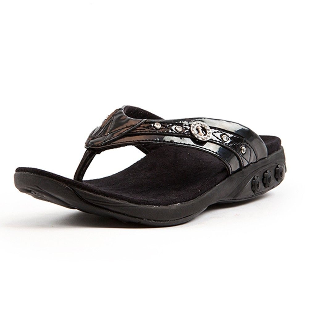 e7006136120478 Therafit Brittany Women s arch support Jeweled Patent Leather Sandal