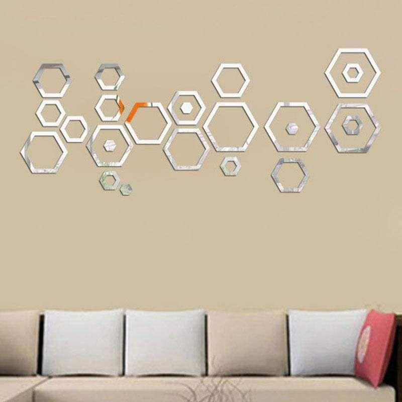 Acrylic Removable Modern Mirror Wall Sticker DIY Art Vinyl Decal Home Decor 24PC