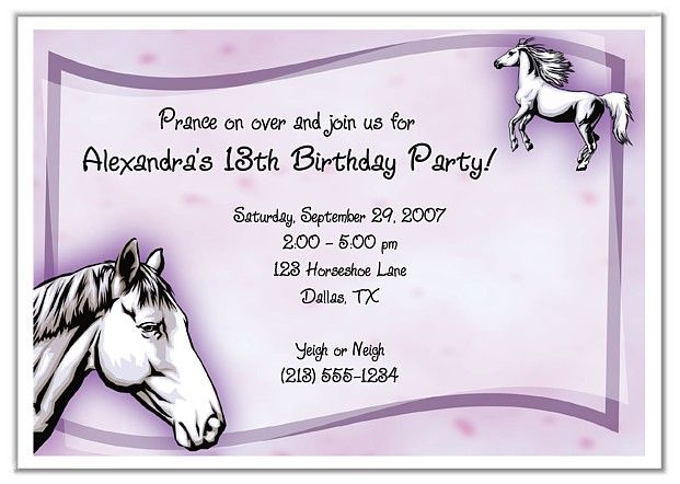 Horse Birthday Party Invitations $100 each http\/\/www - free 18th birthday invitation templates