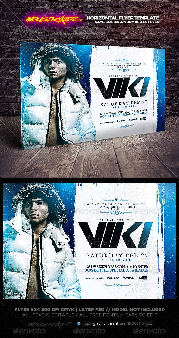 Winter Party Flyer Template Horizontal  Winter Parties Party