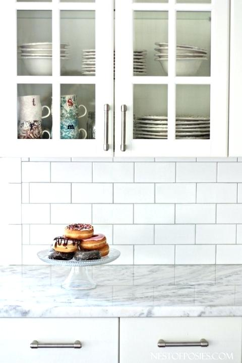 White Backsplash Gray Grout White Subway Tile As Back Splash
