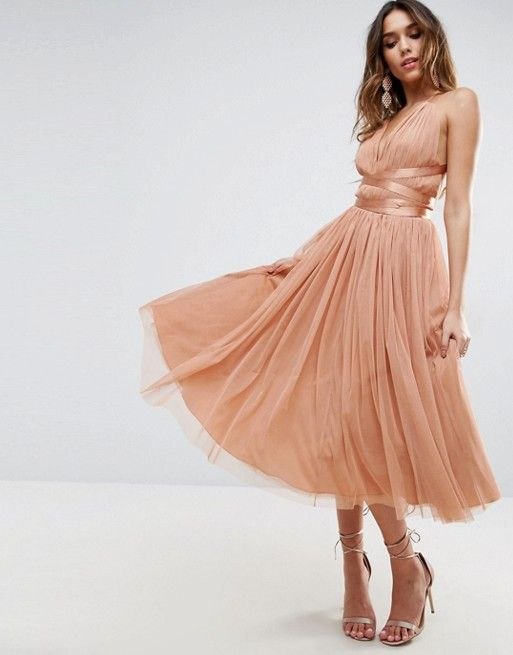 9cdb4d8e233 ASOS Premium Tulle Midi Prom dress - with matching PEACH ribbon wrapping  around the waist. Ribbons wrap around back. Full midi skirt.