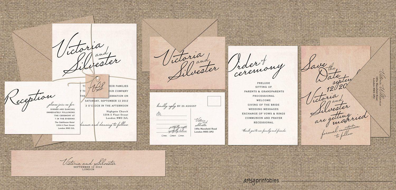 vintage wedding invitations elegant script style custom printable designs calligraphy classic timeless - Vintage Style Wedding Invitations