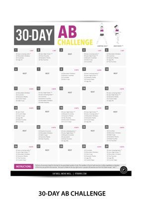 """8minute abs workout poster  laminated  19""""x27""""  30 day"""