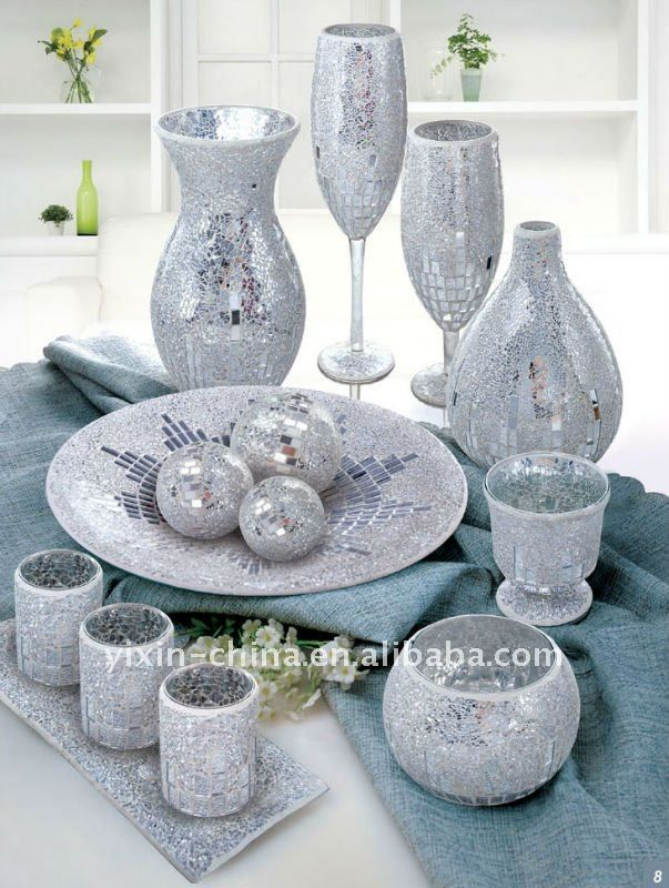 Silver Mirrored Glass Mosaic Vase With Candle Holder Set Wedding