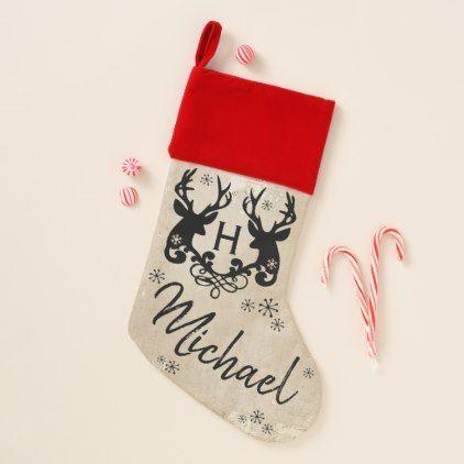 Personalised Christmas Xmas   Reindeer vintage Style Decoration Any Name