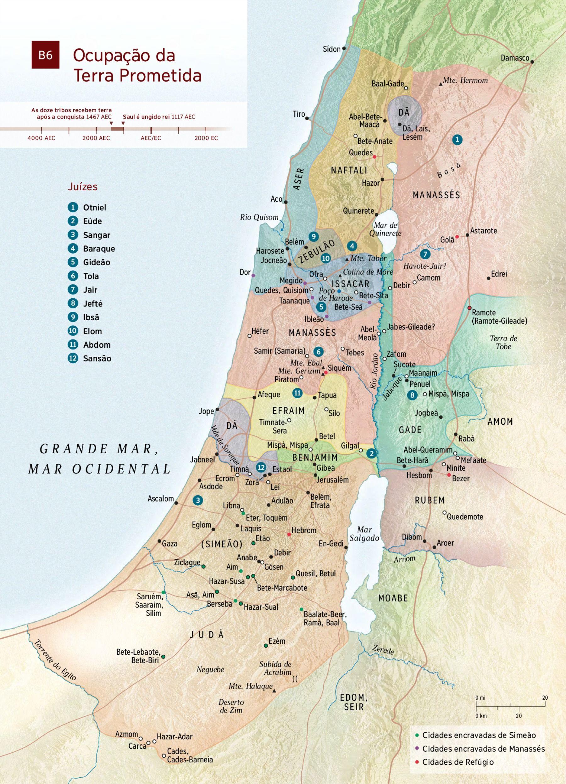 Mapa A Terra Prometida E As Cidades De Refugio Com Imagens