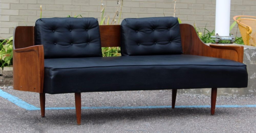 Mid Century Modern Danish Walnut Black Vinyl Curved Back Sofa