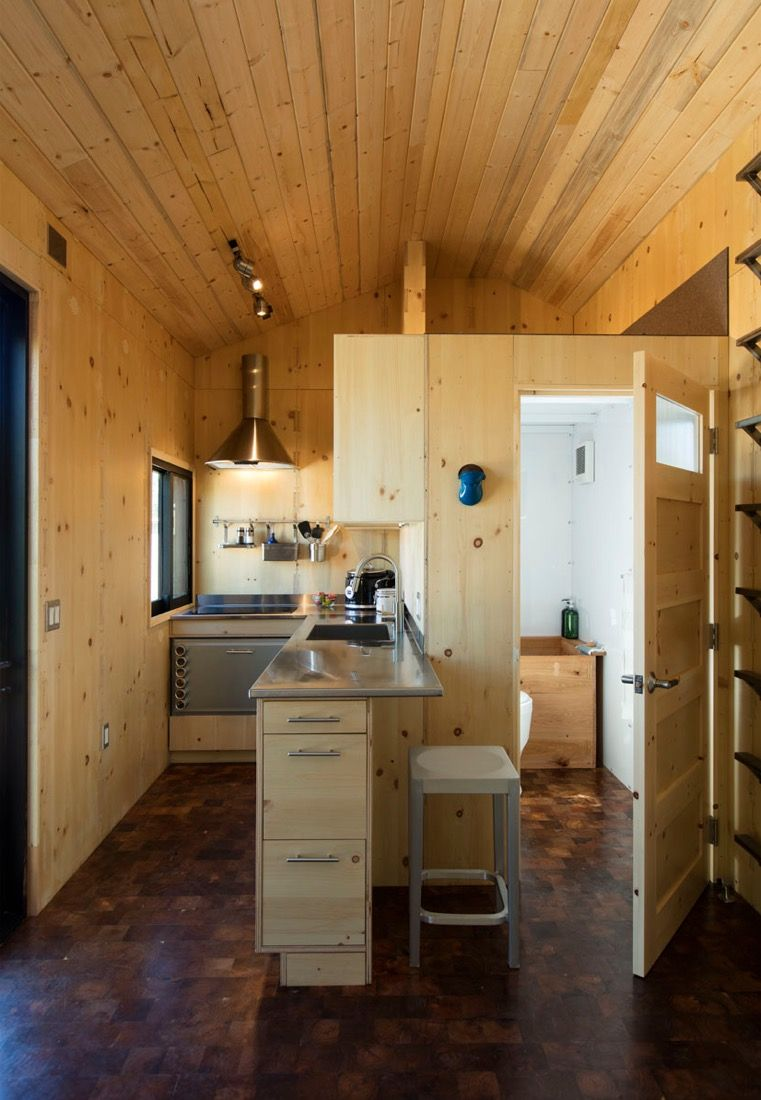 This is the SaltBox Tiny House on Wheels by Extraordinary Structures. It has just over 200 sq. ft. of space and is built using a CNC-cut panelized construction system on a 24 foot trailer. Enjoy! 2…