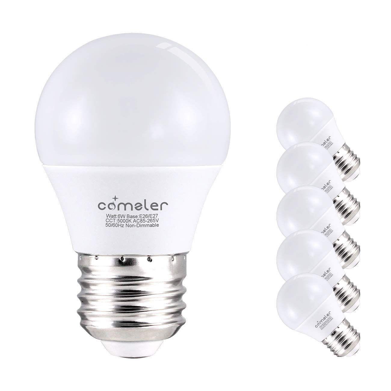 Comzler 6w A15 Led Bulb Daylight 60 Watt Equivalent E26 Medium Screw Base Small Light Bulb Cool White 5 In 2020 Decorative Ceiling Fans Ceiling Fan With Light Led Bulb