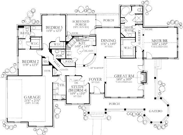 Country Style House Plan 4 Beds 2 5 Baths 2184 Sq Ft Plan 80 119 Country Style House Plans House Plans Floor Plans