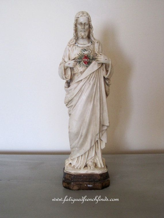 Antique French Plaster Statue of Christ and the Sacred Heart  Sacré Coeur Religious Statue Decorative Devotional Statue